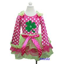 St Patricks Day Lime Green Hot Pink Tutu Plus Shamrock Hot Pink White Polka Dots Long Sleeves Top 1-7Y