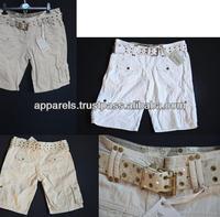 Papaya belted shorts