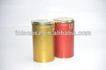 round metallic tin box for tea and coffee