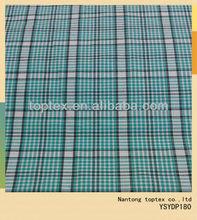 32X32 100X80cotton woven fabric yarn dyed large green checks shirt fabric