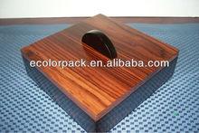 Dark brown wood grain wooden tea set storage box