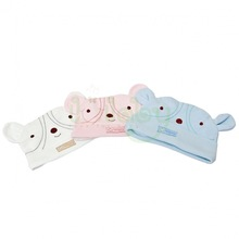 Double layer baby hats embroidered baby beanies with ears