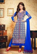Floral Embroidery Suit Cotton Semi Stitch Dress Fancy Anarkali Salwar Kameez 1345