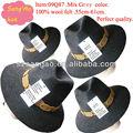 Venta al por mayor/azo/oem gris mezcla de gran tamaño de gángster sombrero sombreros de ala de fieltro de lana de disquete cap100% de lana podría imprimir la insignia/reunión/de la boda