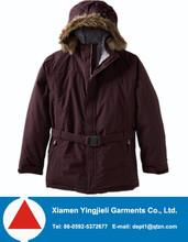 Kids faux fur hooded ski jacket with elastic waist belt