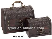 Small Wooden Treasure Chest Jewelry Box