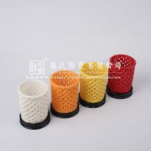 ceramic weave pen/pencil holders,4 tone pen cups,Enterprise office gifts,high-grade business gifts(55023)