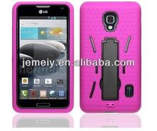 Plastic hard &silicon hybrid rugged kickstand case cover for LG Optimus F6