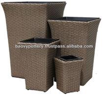 New design Handicraft PE Rattan with inner plastic Flower Pot set of 4
