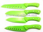4pcs green handle non-stick kitchen knife set
