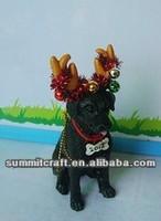 2014 resin antlers Christmas black dog figurine wholesale