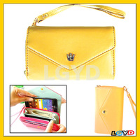 High Quality Women 3-Fold Zipper Magnet Wallet Leather Case for Samsung S4/ i9500 / i9300 / iPhone 5 & 5C & 5S / etc