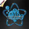 Rhinestone fish iron on zodiac sign of blue Pisces transfer