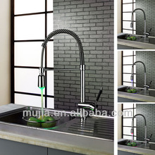 Modern chrome finish solid brass deck led kitchen mixer pull down LSK05