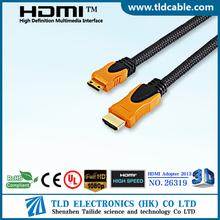 High speed 1.4version dual mold mini hdmi to mini jack with nylon sleeve
