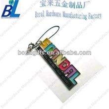 Fashion promotional metal letters phone strap drop ornament