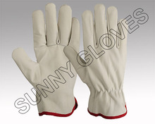 White Cow or Goat Leather Driver Gloves Wing Thumb / Leather Working Gloves