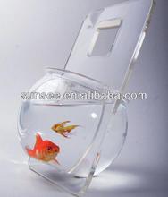 Hot sale fish round glass fish bowl, acrylic portable fish bowl FT-007