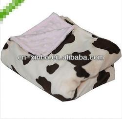 Handmade Baby Blanket - Cow Print + Blue Dot