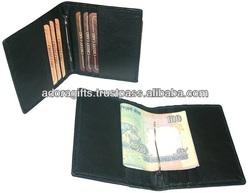 ADAMCW - 0001 money clip slim wallets / eco friendly black money clip wallets / thin leather wallets with money clip