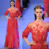 2014 Elegant High Neck Sheer Top 3/4 Sleeve Red Sequin Fashion Evening Prom Dresses Of Elie Saab