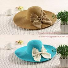 Fashion Girls Bowknot Attached Beach Hats