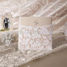 Hot sale lace cut romantic lace&carving wedding&invitation card