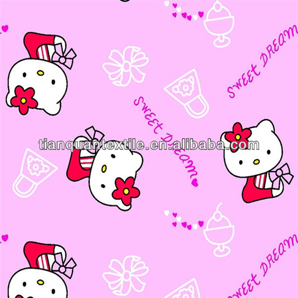 pink little cat printed flannel cloth for baby garment