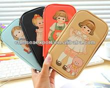 Lovely microfiber student stationary kit bag wallet for girls yiwu factory