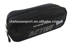 black nylon student two zipper pencil bag wallet for girls yiwu factory