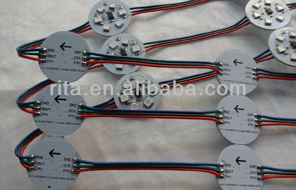 20pcs pre-soldered DC24V UCS1903 LED pixe PCBA;DC24V input;6pcs 5050 SMD RGB LED,1.44W;36mm diameter