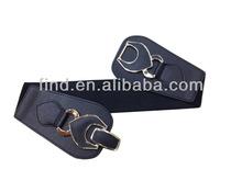 black stretch elastic belt with snaps
