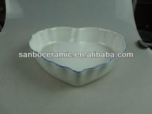 white ceramic bakeware with heart shape