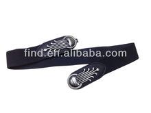 black bow rivet stretch elastic belt with snaps