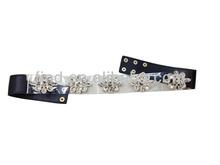 black acrylic stretch elastic belt with snaps