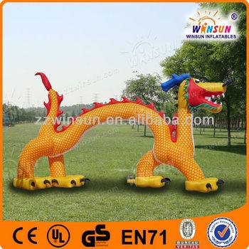 Manufacture Top Sale Advertising best handwork vivid design inflatable giant dragon