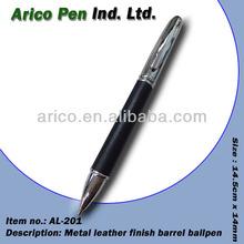 Metal leather finish ballpoint pen