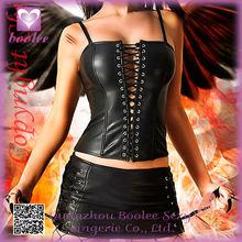 Sexy Women Bow Lace Floral Black Bondage Leather Corset