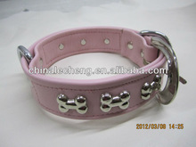 2014 Best selling bow rivet studded leather dog collar