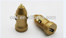 Wholesale - Golden for iPhone 5S Color Dual USB Port Car Charger Universal Mini Adapter 2.1A 1A DC Charger For iPhone 5S 5