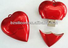 Whosale plastic heart shape usb drive, brand your own logo