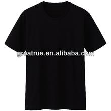 Polyester/cotton mens o-neck cheap plain t-shirt black
