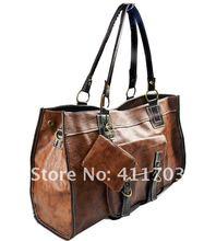 Retro Stitching Shoulder Cross Leather + Zero Purse Tote Bag for Women