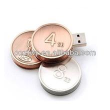 New round metal usb flash drive, OEM flash memory usb stick