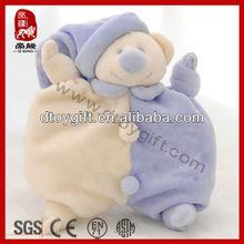 High quality soft animal bear plush baby blanket stuffed baby comforter toy wholesale