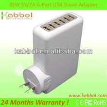 6 Port USB Power Adapter Global Travel US/EU/UK/AU Plug Wall Charger For phone