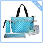 Blue Polka Dot Mummy Bag w/ Changing Pad 4Pcs Carter's Chevron Baby Diaper Bag