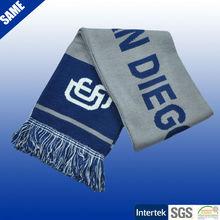 100% acrylic jacquard knitting pattern football fan scarves