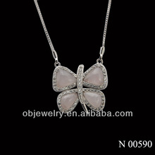 18K Gold plated butterfly silver semi-precious necklace jewellers