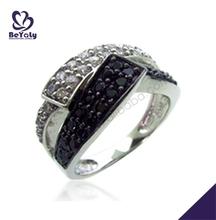 Ingenious female lovely black shiny designer diamond rings